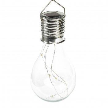 Фонарь садовый на солнечной батарее лампочка прозрачная, 5 led, пластик, н