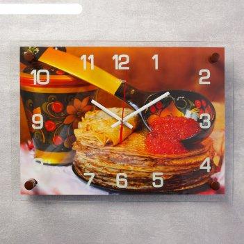 Часы настенные, серия: кухня, блинчики с икрой , 25х35  см, микс