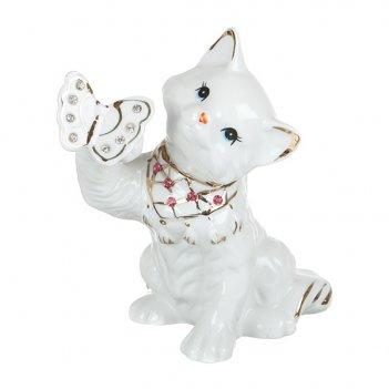 Фигурка кошка с бабочкой высота=14 см.