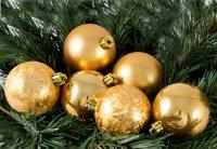 """Набор ёлочных игрушек """"шары"""" из 6шт. 60мм, золото"""