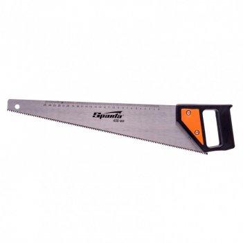 Ножовка по дереву, 450 мм, 5-6 tpi, каленый зуб, линейка, пластиковая руко