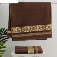Полотенце махровое donatello жаккард 50*90 хакки 100% бамбук ,450 гр/м.