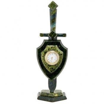 Часы щит и меч малый камень змеевик