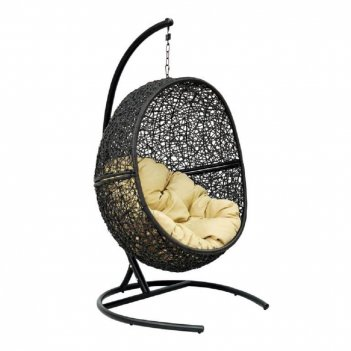 Подвесное кресло lunar black ми (175), каркас черный, подушка зеленая(сала