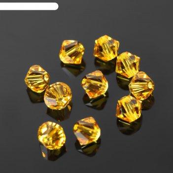 Бусина swaгovski , 4мм, биконус, золотисто-желтый, 10 шт