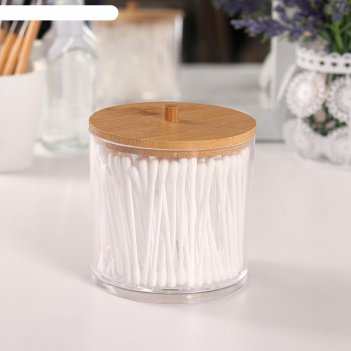 Контейнер для хранения ватных палочек, 9,5 x 9,7 см, цвет прозрачный/корич