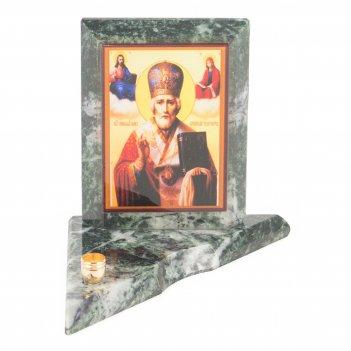 Икона с подсвечником николай чудотворец малая змеевик 95х95х100 мм 350 гр.