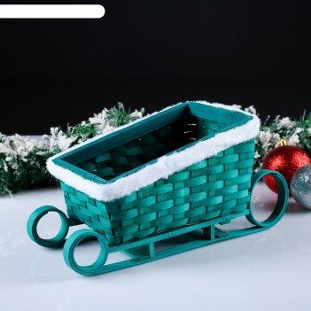 Корзина «новогодние сани», зелёные, 22x14x10/15 см, шпон
