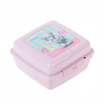 Контейнер для бутербродов с аппликацией me to you, 140х140х75 мм, цвет роз