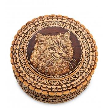 Bst-401/ 5 шкатулка кот (береста)