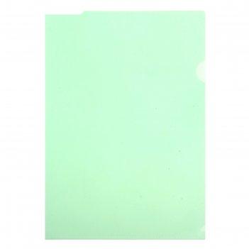 Папка-уголок a4, 100мкм прозрачная, тиснение, зеленая