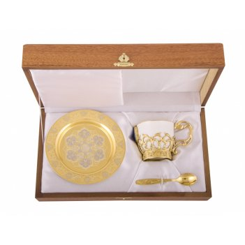 Набор кофейный лазурит литье (тарель d140, чашка, ложка)  злат