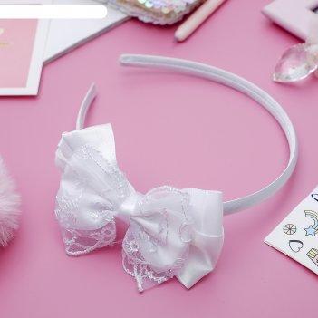 Ободок для волос школьница 1 см бантик с кружевами, белый