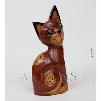 28-044 статуэтка кошка коричневая 30 см