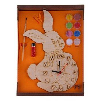 Часы с циферблатом под роспись зайка с красками