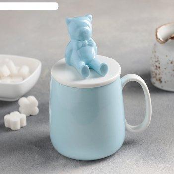 Кружка 400 мл мишка, с керамической крышкой, цвет голубой