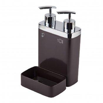 Дозатор для жидкого мыла с секцией для губки viva, цвет коричневый