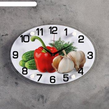 Часы настенные, серия: кухня, овощи, 24х34  см, микс