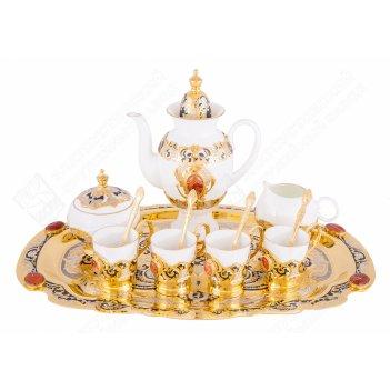 Набор кофейный монплезир (поднос, кофейник, сливочник, сахарница, 4 чашки)