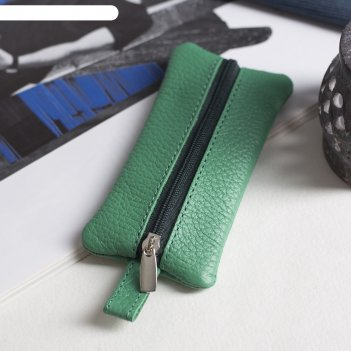 Ключница, отдел на молнии, металлическое кольцо, флотер, цвет зелёный