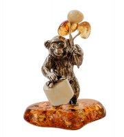 Am- 480 фигурка обезьяна с подарком (латунь, янтарь)