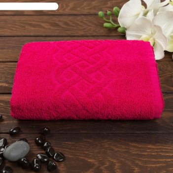 Полотенце махровое жаккард plait, размер 70х130 см, 350 гр/м2, цвет красны