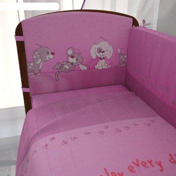 Комплект в кроватку «веселая игра», 6 предметов, розовый