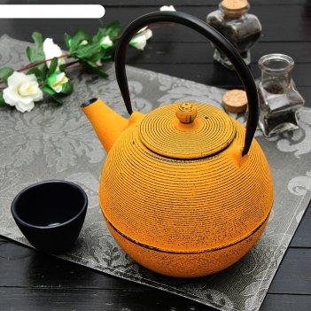 Чайник с ситом 1 л аман с эмалированным покрытием, цвет желтый