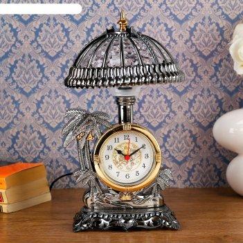 Часы-светильник оазис, золотистые, от сети, 30*17*17 см