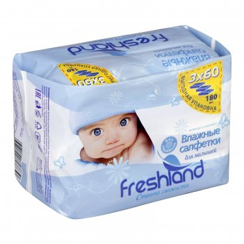 Влажные салфетки freshland для детей «джамбо», 3 упаковки по 60 шт