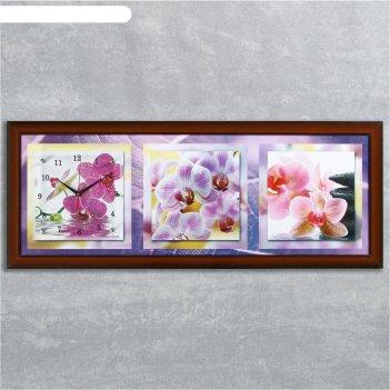Часы-картина настенные, серия: цветы, фиолетовые орхидеи, 35х100  см, микс