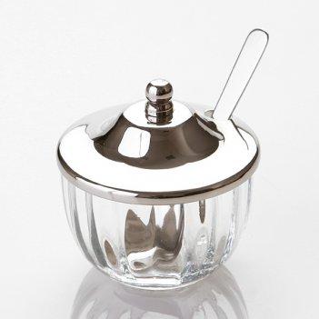 Банка для меда с ложкой стекло-латунь высота=9 см ...
