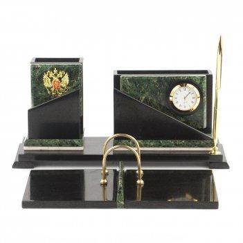 Настольный набор кремлевский змеевик мрамор 320х240х145 мм 4900 гр.