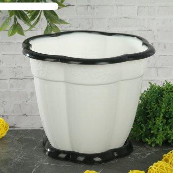 Горшок для цветов восторг 1,5 л, поддон, белый