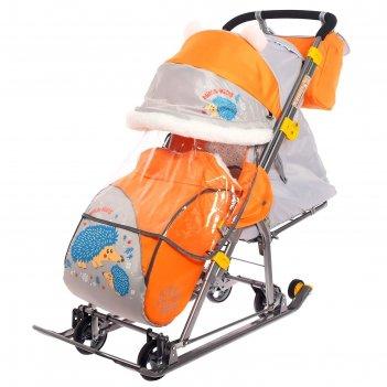 Санки-коляска «ника детям 7-6», с ёжиком, цвет оранжевый/серый