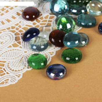 Камень для декора разноцветные плоские марблс (54 шт., 200 гр)