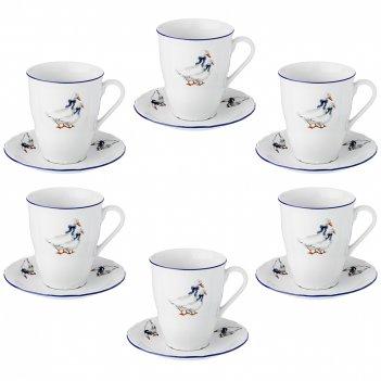 Чайный набор на 6 персон 12 пр. гуси 350 мл. диаметр=15 см. (кор=1набор.)