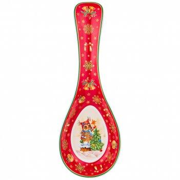 Подставка под ложку lefard новогодняя сказка совы 25 см красная (кор=24шт.