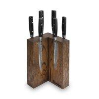 Набор из 6-ти кухонных ножей на подставке из дуба, серия zen, yaxell, япон