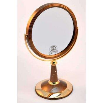 Зеркало b7 809 brz/g bronze&gold наст. кругл. 2-стор. 5-кр.у