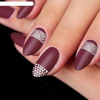Трафареты для ногтей «сердечки и линии»,12 шт на подложке