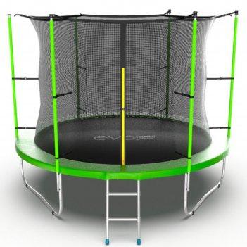 Батут с внутренней сеткой и лестницей, диаметр 10ft (зеленый) evo jump int