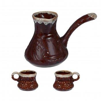 Кофейный набор 3 предмета: турка 0,65 л, 2 чашки 0,17 л, пена, микс