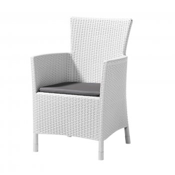 Кресло обеденное keter iova белый, садовая мебель