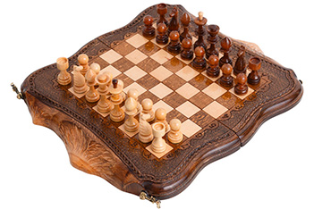 Шахматы + нарды резные арарат 30, ohanyan 33х38см