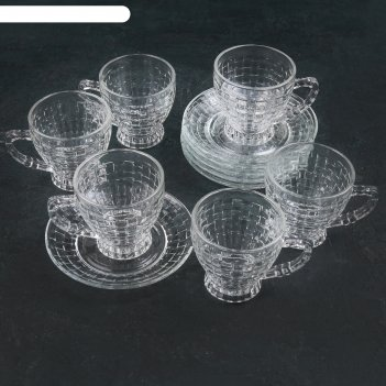 Сервиз чайный 12 пред метов клетка чашка 6 шт, 170 мл 11х8х8,5, блюдце 6 ш