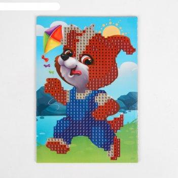 Алмазная мозаика для детей щенок с воздушным змеем 10*15 см