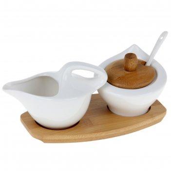 Набор сервировочный 2 пр: молочник, сахарница с ложкой, на подставке эстет