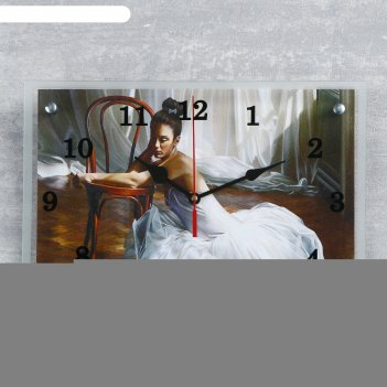 Часы настенные, серия: люди, балерина в комнате, 25х35  см, микс