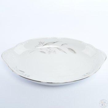 Блюдо для хлеба thun констанция серебряные колосья 33 см
